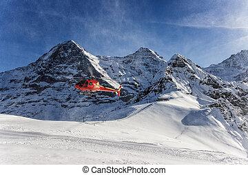 rosso, elicottero, atterraggio, a, svizzero, sci, Ricorso,...
