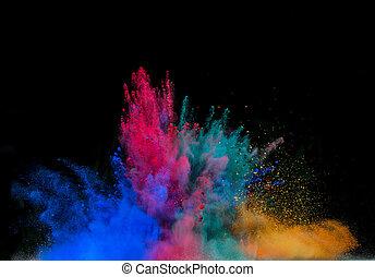 coloreado, polvo, explosión, en, negro, Plano de...