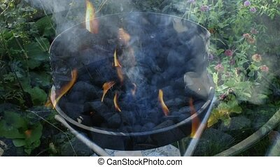 Barbecue with burning, smoking char - Barbecue, smoking and...