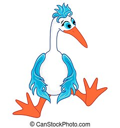 Funny stork sitting - Funny cartoon stork sitting wearily,...