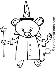 wizard mouse coloring page