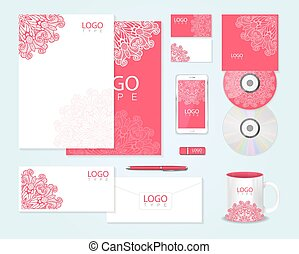 Corporate identity template with floral ornament - Pink...