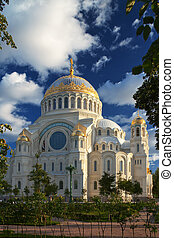 Cathedral - Naval Cathedral in Kronstadt lit sunsets...
