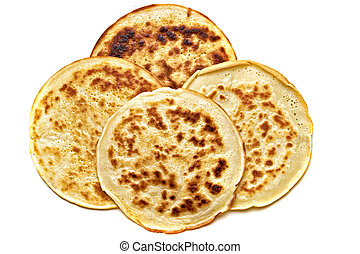4 pancake isolated - four round pancakes in white plate on a...