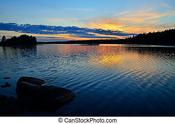 Karelian sunset Lake Engozero, North Karelia, Russia - Charm...