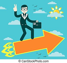 Successful businessman with victory - Figure of Successful...