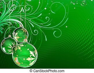 christmas balls - illustration of green Holiday card with...