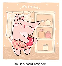 Card with cute kitty and sweet jam. - Card with cute smiling...