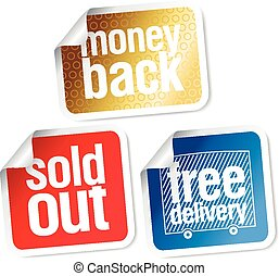 warranty sales stickers set - Free delivery, money back,...