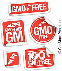 GMO free stickers - GMO free stickers set for healthy food