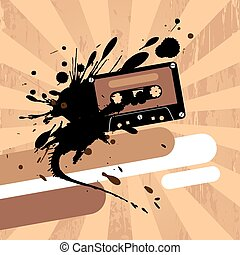 Design template with cassette tape - Grunge design template...