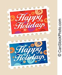 Happy holidays stamps. - Happy holidays postage stamps...