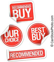 Recommended buy stickers set. - Recommended buy, our choice...