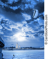 kite surfing in the winter, the snow at night under the moon...