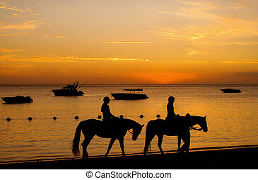 Riders in Sunset