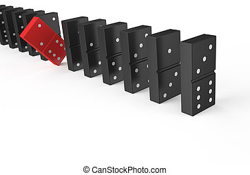 domino, leader concept isolated on white background