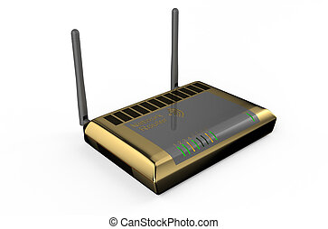 golden wifi router isolated on white background