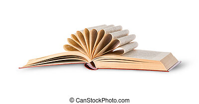 Open book with folded pages rotated