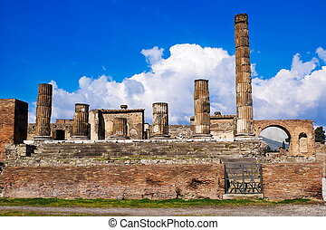 Archeological excavations of Pompeii, Italy - The temple of...