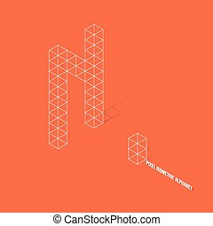 Wireframe Pixel Isometric Alphabet Letter N