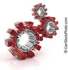 Training concept, gears with words, 3d render, white...