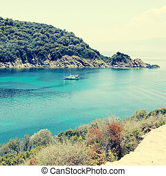 beautiful turquoise bay, Ammuliani island, Halkidiki,...