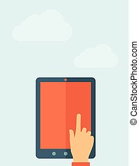 Touch Screen. - Touch Screen with a bulb. Vector flat design...