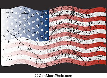 American Flag With Waves