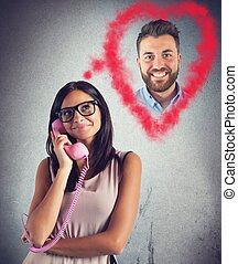 Girl talking with her boyfriend - Girl talking on phone with...