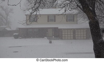 Snowing Hard on House Thru The Tree - Closeup of a suburban...