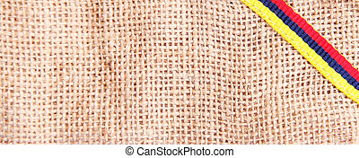 Colombian coffee - texture of Colombian coffee, with yellow,...
