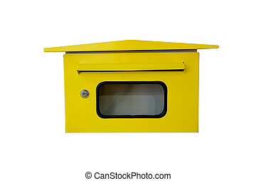 Yellow letterbox - Yellow letterbox on white background