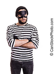criminal, thief, robber, crime - Angry thief with mask...