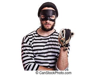 criminal, thief, robber, crime - Criminal holding stolen...