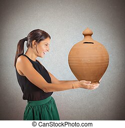 Generous woman happy to give the savings