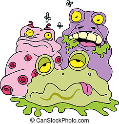 garbage monsters isolated on a white background.