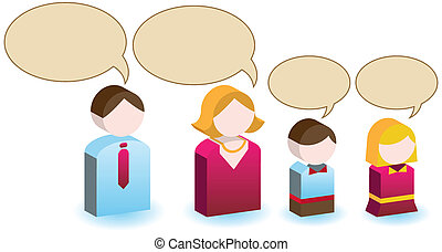 Family Speech Icon Set
