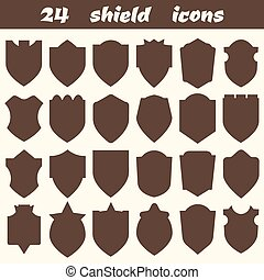 24 shield icons. Set of different shield shapes icons, borders,