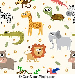 African animals seamless pattern. Cartoon childish animals