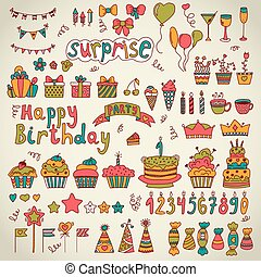 Birthday party design. Cute hand drawn elements