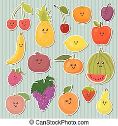 Cute cartoon fruits, healthy food Vector illustration
