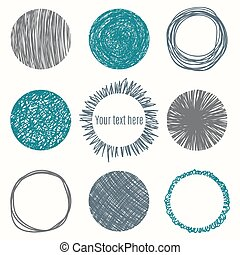 Hand drawn circle banners. Scribble Shapes. Vector...
