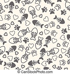 Seamless pattern with cat paw prints, fish bone, and hearts....