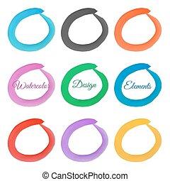 Set of hand drawn watercolor rings. Watercolor design elements