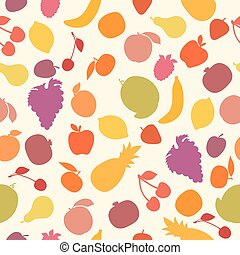 Vector seamless pattern with fruits. Assorted fruits