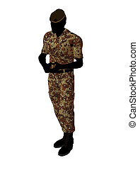 Male Soldier Illustration Silhouette - Male soldier art...