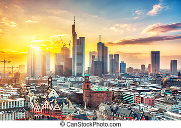Frankfurt at sunset - Frankfurt am Main at sunset, Germany