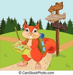 Traveler Squirrel follows the route - Illustration of...
