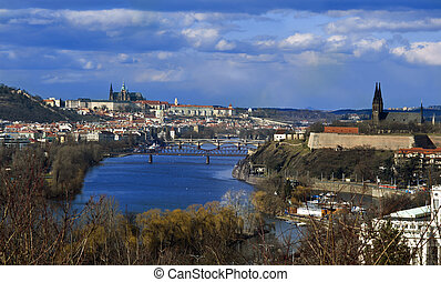 Prague panorama shot on a sunny late winter day In the...