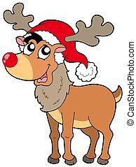 Cartoon Christmas reindeer - isolated illustration.